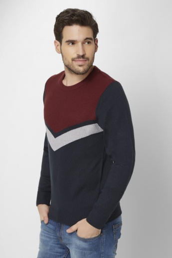 MAX Colour Block Crew Neck Pullover