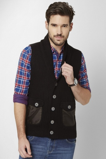 MAX Lapel Collar Sleeveless Cardigan