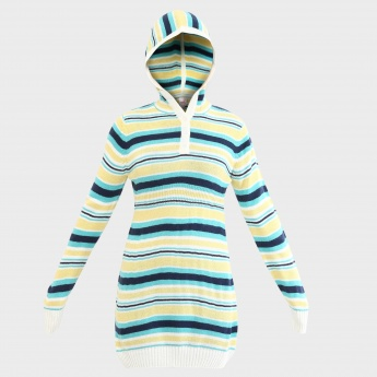 MAX Striped Hooded Sweater Tunic