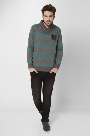 MAX Striped Shwal Collar Pullover