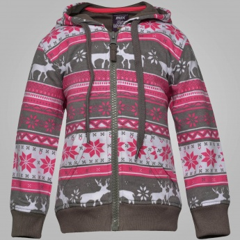 MAX Christmas Print Hooded Sweatshirt