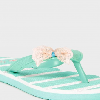 MAX Stripe & Bow Slippers