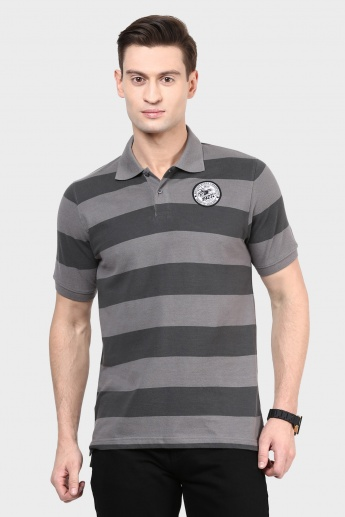 MAX Striped Half Sleeves Polo Neck T-Shirt