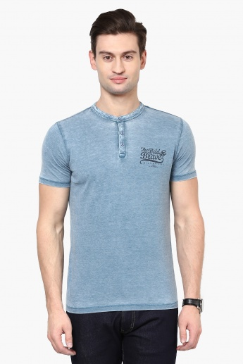 MAX Acid Wash Henley Collar T-Shirt