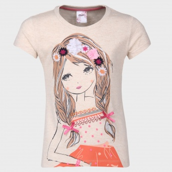 MAX Cute Girl Floral Applique Top