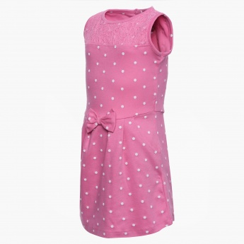 MAX Sleeveless Polka Dot Dress
