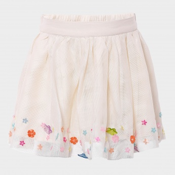 MAX Net Studded Floral Skirt