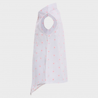 MAX Embroidered Dots Button Up Tie-Up Shirt