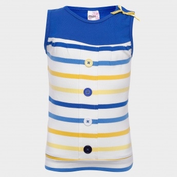 MAX Striped Button Detail Top