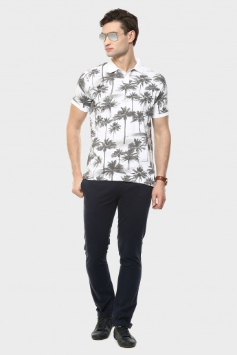 MAX Palm Print Polo Neck T-Shirt