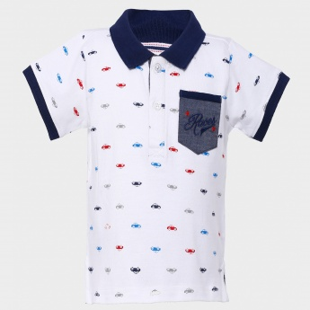 MAX Polo Neck Motor Print T-Shirt