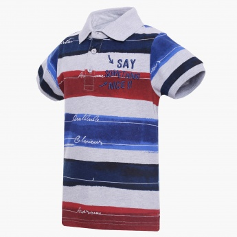 MAX Striped Polo Neck T-Shirt