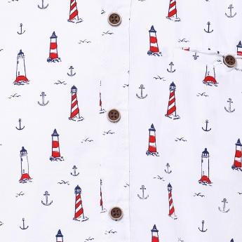 MAX Nautical Print Half Sleeves Shirt