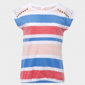 MAX Striped Lacy Shoulder Top