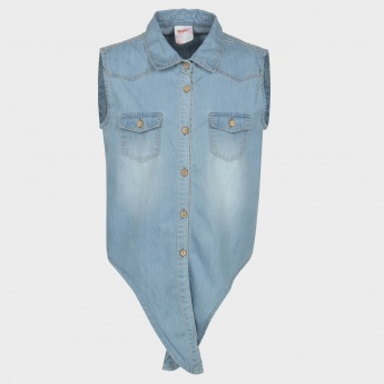 MAX Sleeveless Tie Waist Chambray Shirt