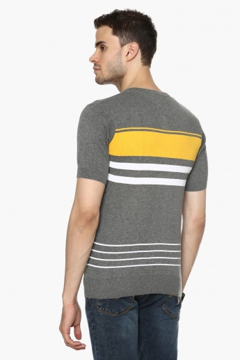 MAX Striped Henley Neck T-Shirt