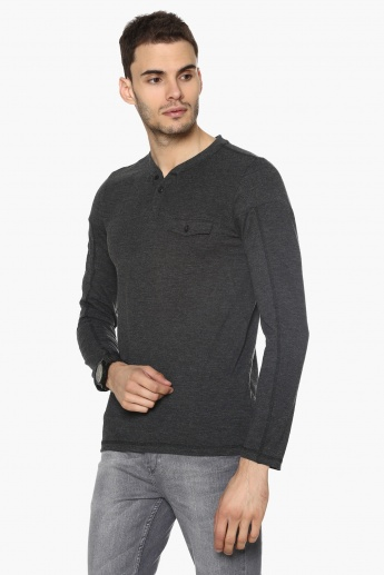 MAX Full Sleeves Henley Neck T-Shirt