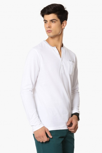 MAX Mock Henley Collar Full Sleeves T-Shirt
