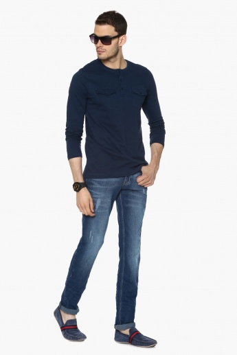 MAX Solid Henley Neck T-Shirt