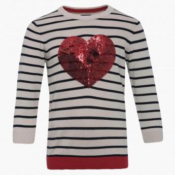 MAX Sequinned Heart Pullover