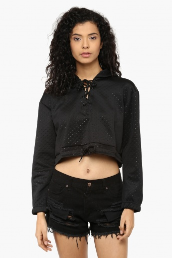 MAX Tie-Up Neck Cropped Hoodie