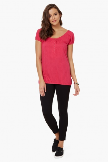 MAX Dot Print Elasticated Hem Top