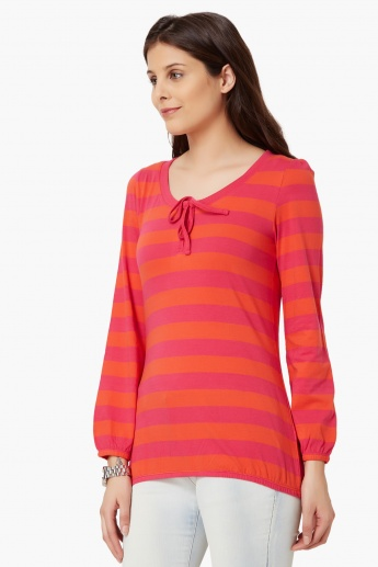MAX Striped Full Sleeves Top