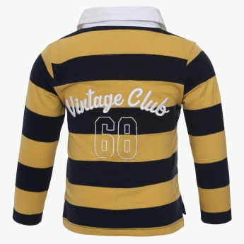 MAX Striped Full Sleeves Polo Neck T-Shirt
