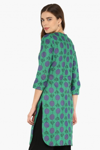 MAX Printed Button-Up Neck Kurti