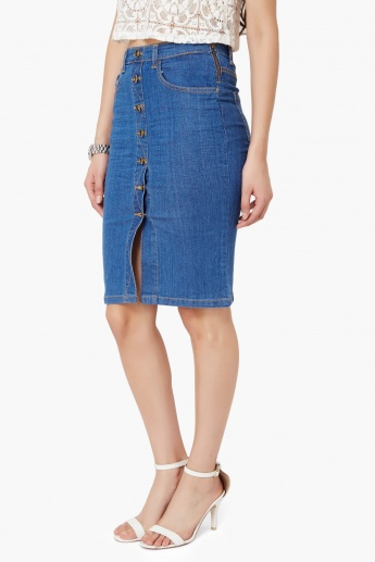 MAX Button-Through Denim Skirt