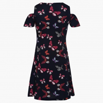 MAX Butterfly Print Cold Shoulder Dress