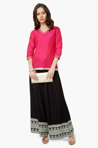 MAX Mirror Work V-Neck Kurti