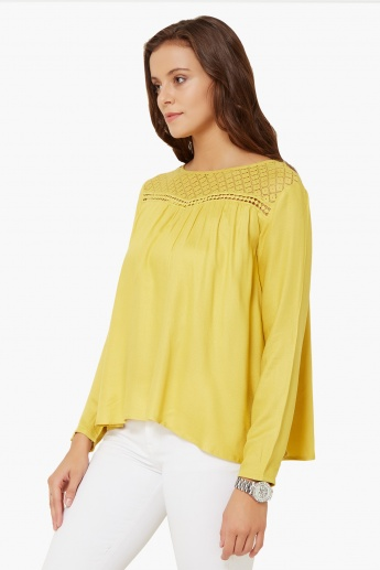 MAX Solid Tie-Up Back Blouse