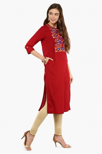 MAX Mirror Work Roll-Up Sleeves Kurta