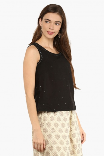 MAX Sleeveless Embellished Top