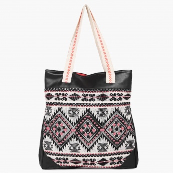 MAX Embroidered Deck Up Tote Bag   Black   Cotton 423c733d3d