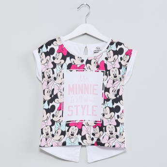 MAX Minnie Mouse Print Extended Sleeve Top