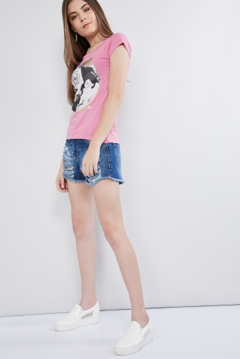 MAX Disney Print Round Neck T-shirt