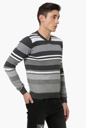 MAX Striped V-Neck Full Sleeves T-Shirt