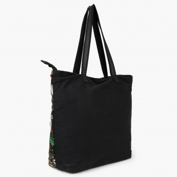 MAX Embroidered Handbag   Black   Synthetic 6e9572c51c