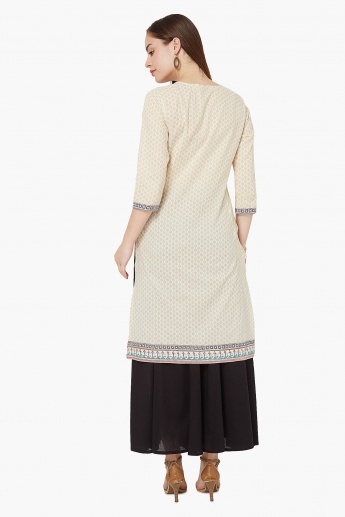 MAX Printed Side Pocket Straight Kurti