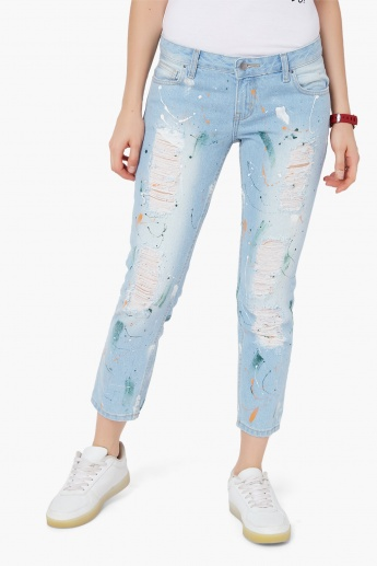 MAX Distressed Paint Splatter Jeans