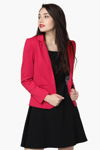 MAX Solid Notched Lapel Front-Open Blazer