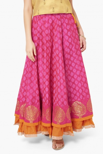 84cfdfcc59 MAX Block Print Layered Maxi Skirt | Pink | Printed