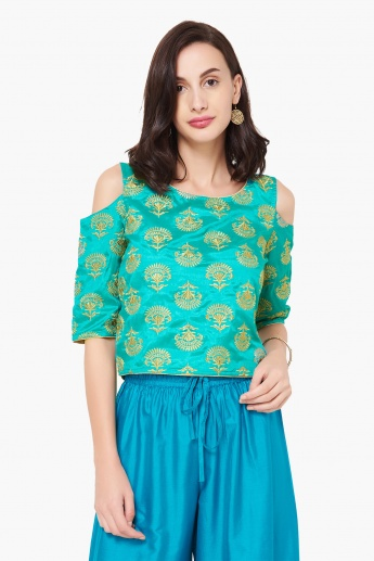 f9a1227f1c7a92 MAX Embroidered Cold-Shoulder Sleeves Ethnic Top