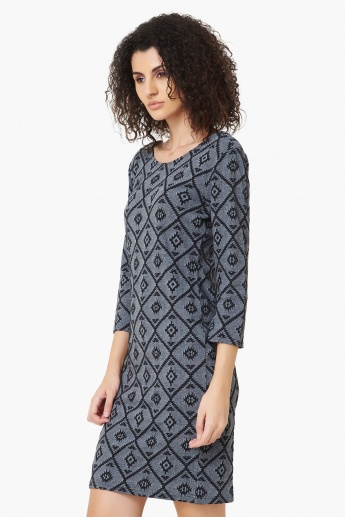 MAX Aztec Pattern Knit Long Top
