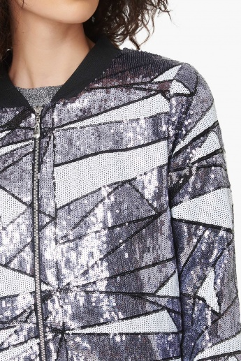 MAX Sequined Camouflage Zip-Up Bomber Jacket