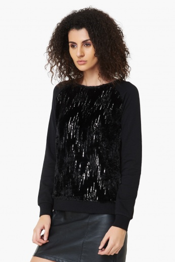 MAX Sequined Full Sleeves Sweatshirt