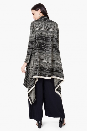 MAX Pattern Woven Full Sleeves Asymmetric Hem Long Shrug