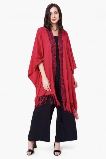 MAX Pattern Woven Border Full Sleeves Long Shrug